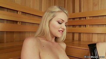 Blonde rubbing cunt and fucking machine