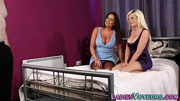 Busty mistresses laugh at tugging loser