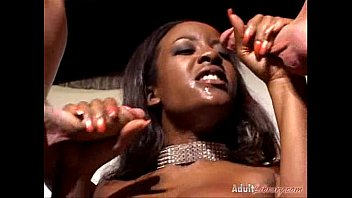 Big boobed black slut Sierra takes two agents in all holes fmm