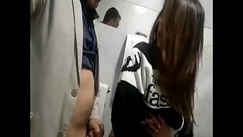 Fucking slutty wife on a public toilet