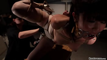 Bound hung Asian nurse tormented