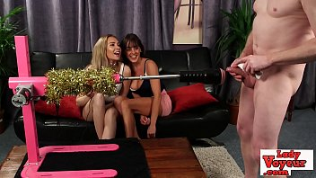 Submissive cock is jeered by cfnm babes