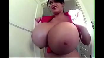 Big natural tits in tight bra