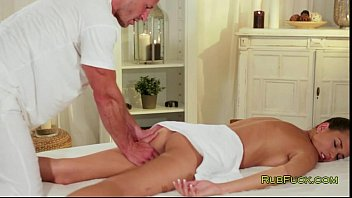 Brunette Fucked And Creampied By Masseur