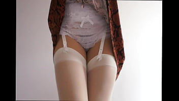 Showing off her sexy ruffle panties