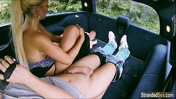Teen Jessie Sinclair finds a man with a car and cock to ride