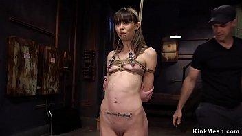 Brunette slave gets fisting training 5 min