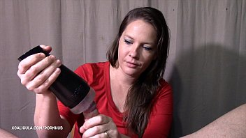 Azzurra is using a Fleshlight   blow job with a cum fountain ending