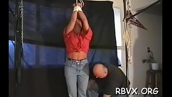 Titillating naked - Ditry whore gets completely bounded and titillated by a toy