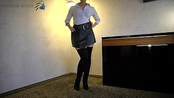 business bitch in leather skirt and overknees – blowjob and sex ends with cum on her slutty face, business-bitch