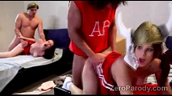 2 Slutty cheerleaders get smashed by 2 horny frat boys in parody
