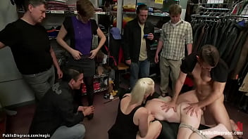 Bound brunette anal fucked in public