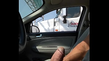 Trucker filming me stroking
