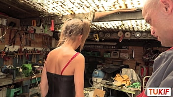 French Teen with pigtails suck and fuck two guys in a garage 10 min