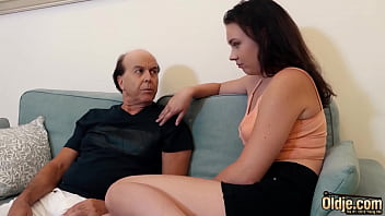 Old Dude Fucking Tight Young Pussy On The Couch Ends With Cumshot On Her Boobs