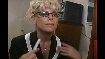 blonde mature french teacher Mrs. Vogue with glasses help student 28 min