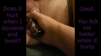 Chastity denial orgasm - Chastity hubby forced to lick and watch dildo orgasm