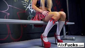 Schoolgirl Alix Lynx teases her big tits and wet pussy!