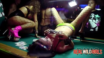 VIP Club sluts eating pussy on the pool table