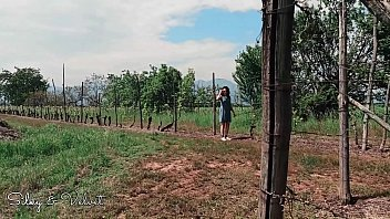 City girl pretends to be intrested in grapes to get fucked by the farmer! He gets horny and he fucks her throat and pussy wildly! 13 min