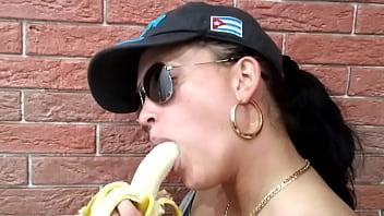 Girl shows her skills on banana