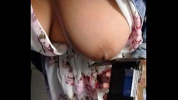 laura vestido transparente sin bra y sin ropa interior