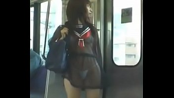 japaneza in train ,transparent dress