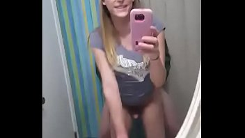Blonde trap mirror fucking