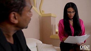 Black monster cock's jizz on horny busty female Boss Anissa Kate's glasses thumbnail