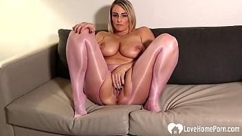 MILF in pantyhose massages her big tatas