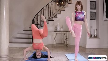 Yoga rival gfs get flexible with licking