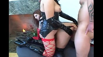 Lacie corset fetish model Fetish babes in latex and stockings share a cock