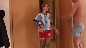 Hot post-soccer training threesome with 2 horny teen babes and one big cock thumbnail