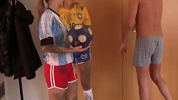 Hot post-soccer training threesome with 2 horny teen babes and one big cock 8 min