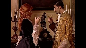 Black cocktail dress vintage Redhead noblewoman banged in historical dress