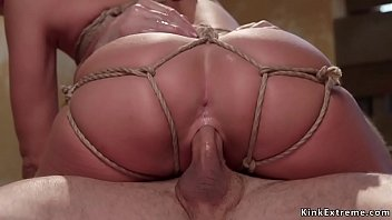 Teen in tight rope bondage gets fucked