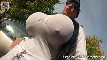 Why not combi patch on breasts - Penelope black diamond - jogging sport with huge boobs