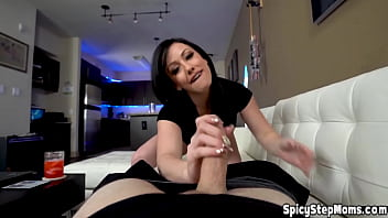 Hot brunette UK stepmother Jennifer White POV blowjob