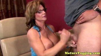 Granny mature tugger spoils dick