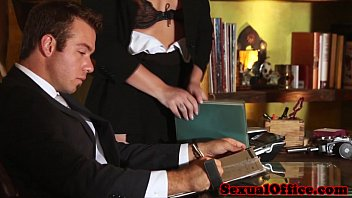 Sexy secretary and boss Redhead office secretary banging the boss