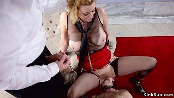 Master anal bangs two slaves on sofa