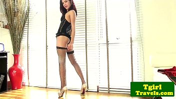 Fishnet tgirl jerking cock in lingerie