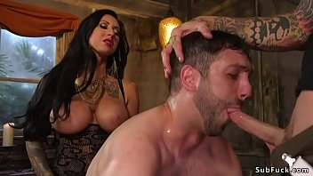 Girlfriend swallow bisexual cum load in bathroom threesome