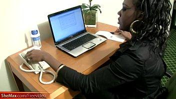 Shemale phone uk Having a phone sex makes this ebony t-babe secretary cumshot