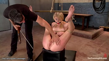 Blonde trainee rides oiled big cock