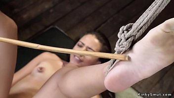 Slave fingered in hogtie suspension