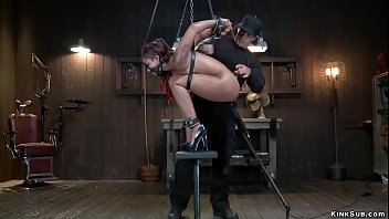 Butt hooked ebony slave is vibrated