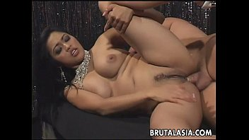 Fantastic big titty brunette Asian mesmerizer getting anal fucked 8 min