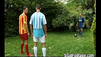 Naked gay soccer player porn - Hot soccer players having a threesome