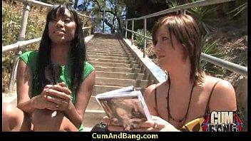 milf spanking tube Black ho sucks on white dicks in a group blowjob 29